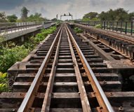 Railway. Old Railroad tracks parallel transport Stock Photos