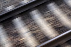 Railway. Rails photo taken from a moving train Stock Photography