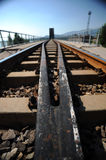 The railway. With blue sky Stock Photo