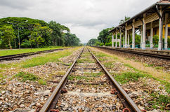 Railway. Trainstation in south of thailand Royalty Free Stock Images