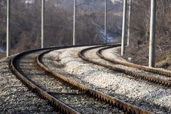 Railway. Picture of the rail road Royalty Free Stock Photo
