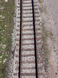 Railway. A single railway track seen from above Stock Image
