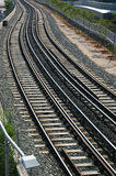 Railway. Close view of two railway tracks Royalty Free Stock Photos