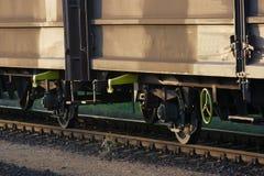 Railway. Freight wagons on the railway tracks Stock Photo