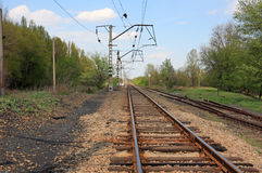 Railway. Long railway track in a province Stock Photo