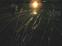 Railway. The railroad crossing at night Royalty Free Stock Images