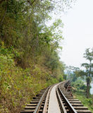 Railway along with the cliff, In Thailand Royalty Free Stock Images