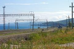 Railway along Lake Baikal. In summer stock photography