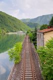 Railway along the river Royalty Free Stock Photos