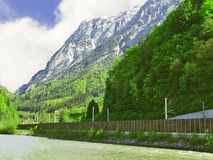 Railway in the Alps Stock Photography
