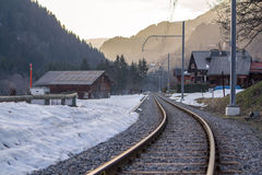 Railway in alps Royalty Free Stock Photos