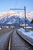 Railway in alps Royalty Free Stock Photography