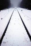 Railway and amazing fog Royalty Free Stock Photography