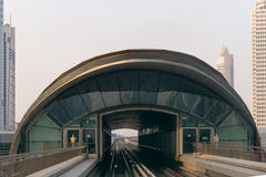 Railway Approach to a Transit Station in Dubai Stock Photography