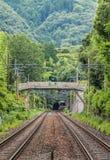 Railway in Arashiyama woods Royalty Free Stock Images