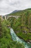 Railway arch bridge Kylling crosses Rauma river Royalty Free Stock Image