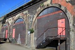 Railway arches workshops stock photo