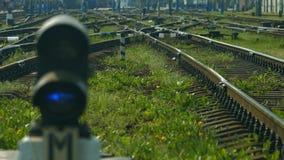 Railway arrows. stock video footage