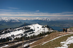 Railway At The Top Of Mount Rigi Near Lake Lucerne Stock Images