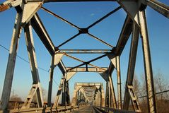 Railway and automobile bridge Stock Image