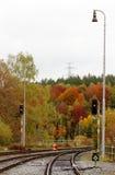 Railway in the autumn with semaphores Stock Image