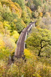 Railway in autumnal landscape Royalty Free Stock Image