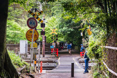 Railway at Bamboo forest of Arashiyama Royalty Free Stock Image