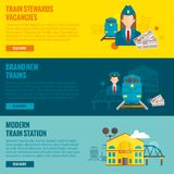 Railway Banner Set. Railway horizontal banner set with train steward vacancies new modern station elements isolated vector illustration Royalty Free Stock Images