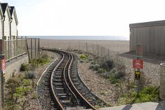 Railway on beach at Brighton. Sussex. UK. Volks electric railway on the beach at Brighton. East Sussex. England royalty free stock photography