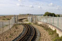 Railway on beach at Brighton. Sussex. UK Stock Photography