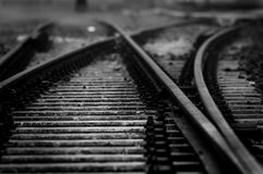 Railway in black and white Royalty Free Stock Photo