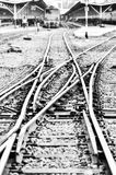 Railway in black and white Stock Photo