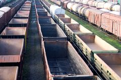 Railway boxcars Stock Images