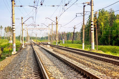 Railway. Branching railway way,it is infrastructure royalty free stock photography