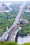 Railway bridge. In Kiev, Ukraine Royalty Free Stock Photos