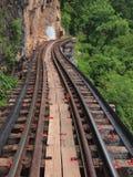 Railway bridge. Railway beside cliff in kanchanaburi Stock Photography