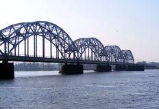 Railway bridge. Over the river Daugava in Riga, Latvia Stock Photos