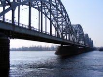 Railway bridge. Over the river Daugava in Riga, Latvia Stock Images