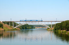 Railway bridge. The railway bridge through the river in the summer Stock Photography