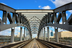 Railway bridge. Krasnoluzhsky railway bridge in Moscow in a sunny day Royalty Free Stock Photography
