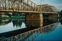 Railway bridge. Across the Elbe near Celakovice, Czech Republic Royalty Free Stock Images