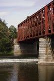Railway bridge. Red railway bridge near Cernosice, Czech republic stock photography