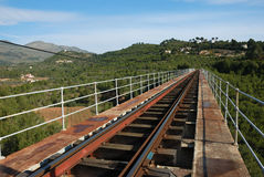 Railway bridge. An old railway line crossing a scenic bridge Stock Photography