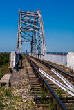 Railway bridge across the Canal against the blue sky. Railway bridge against the blue sky Royalty Free Stock Photo