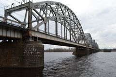 Railway bridge across the Daugava river. Railway bridge across the Daugava river in Riga, Latvia royalty free stock photo