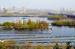 Railway bridge across Dnepr river. Kiev,Ukraine. Royalty Free Stock Photos