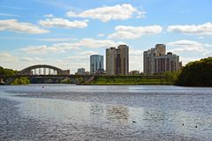 Railway bridge across the Moscow Canal in Khimki, Russia Royalty Free Stock Photo