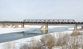 Railway bridge across the Oka river in Kolomna Stock Photo