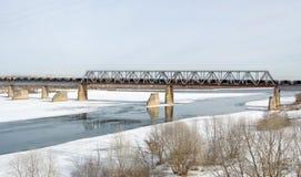 Railway bridge across the Oka river in Kolomna Stock Photo