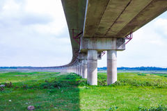 Railway bridge across the Pasak Large water storage Royalty Free Stock Photos